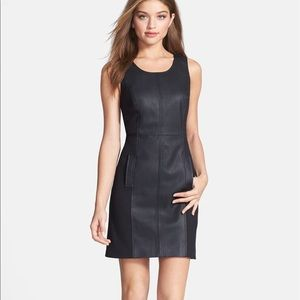 KENSIE | Faux Leather & Knit Sheath Dress
